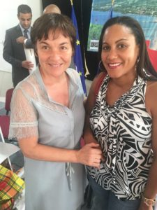 Magali Fanel, co-fondatrice de Kay Karayib avec la Ministre des Outre-Mers, Annick Girardin